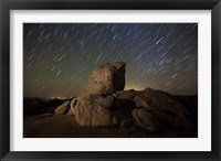 Framed Star trails and large boulders Anza Borrego Desert State Park, California