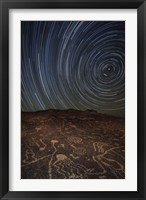 Framed Star trails at an ancient petroglyph site near Bishop, California