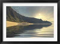 Framed sun sets on a beautiful mountainside and shoreline