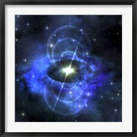 A brilliant star sends out magnetic waves out into surrounding space Framed Print