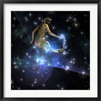 Framed Celesta, spirit creature of the universe, spreads stars throughout the cosmos