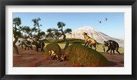 Framed family of Saber Toothed Tigers watch a herd of Woolly Mammoths