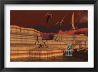 Framed Pteranodon dinosaurs in a prehistoric landscape