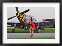 Framed Sexy 1940's style pin-up girl posing with a P-51 Mustang