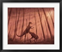 Framed Two Bicentenaria argentina dinosaurs fighting in the woods
