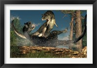 Framed couple of Carnotaurus dinosaurs fighting