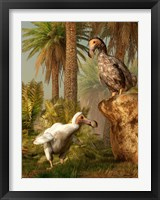 Framed pair of Dodo birds play a game of hide-and-seek