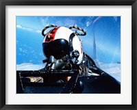 Framed pilot sitting in the back of a two-seater F-14 Tomcat