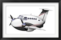 Framed Cartoon illustration of a Beechcraft King Air