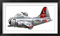 Framed Cartoon illustration of a Boeing B-17 Flying Fortress