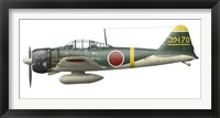 Framed Illustration of a Mitsubishi A6M2 Zero fighter plane