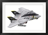 Framed Cartoon illustration of a F-14 Tomcat