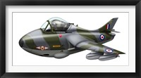 Framed Cartoon illustration of a Royal Air Force Hawker Hunter F6