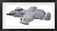 Framed Cartoon illustration of an A-10 Thunderbolt II