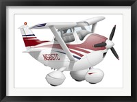 Framed Cartoon illustration of a Cessna 182 aeroplane