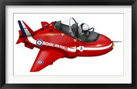 Framed Cartoon illustration of a Royal Air Force Red Arrows Hawk airplane