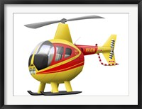Framed Cartoon illustration of a Robinson R44 Raven helicopter