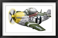 Framed Cartoon illustration of a P-51 Mustang