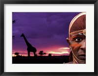 Framed Maasai Warrior with Sunset on the Serengeti, Kenya