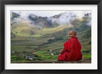 Framed Monk and Farmlands in the Phobjikha Valley, Gangtey Village, Bhutan