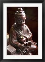 Framed Lu Yu statue, Shanghai's Lu Gardens Bazaar teahouse