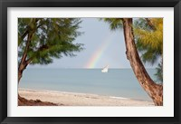 Framed Madagascar, Mahajunga. Fishing dhow and rainbow
