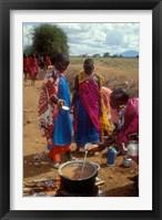 Framed Maasai Women Cooking for Wedding Feast, Amboseli, Kenya