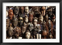 Framed Mask stall at curio store, Greenmarket Square, Cape Town, South Africa