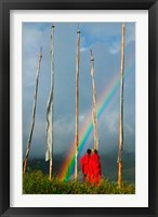 Framed Rainbow and Monks with Praying Flags, Phobjikha Valley, Gangtey Village, Bhutan