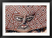 Framed Painted Geometric Mask, Zimbabwe
