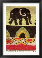 Framed Namibia, Swakopmund. Karakulia, elephant design on wool textiles