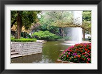 Framed Pond With Fountain in Kowloon Park, Tsim Sha Tsui Area, Kowloon, Hong Kong, China