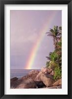 Framed Rainbow over Tropical Beach of Anse Victorin, Seychelles