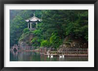 Framed Pavilion with lake in the mountain, Tiantai Mountain, Zhejiang Province, China