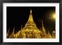 Framed Shwedagon Pagoda at Night, Yangon, Myanmar