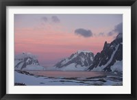 Framed Sunset Light on Lemaire Channel, Antarctic Peninsula