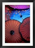 Framed Souvenir parasols for sale at a market, Rangoon, Burma