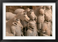 Framed Terra Cotta Warriors and Horses at Emperor Qin Shihuangdi's Tomb, China