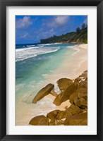 Framed Tropical Beach, La Digue Island, Seychelles, Africa