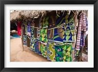 Framed West Africa, Benin, Textiles in thatched market