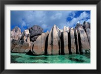 Framed Unique Rock Formations on Shore of Curieuse Island, Seychelles