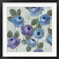 Blue Damask I on Ivory Framed Print