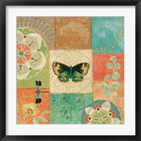 Framed Folk Floral III Center Butterfly
