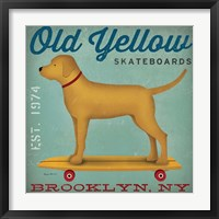 Framed Golden Dog on Skateboard