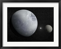 Framed Pluton, its big moon Charon and the Polaris star