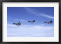 Framed Saab JA 37 Viggen and Saab JAS 39 Gripen fighters of the Swedish Air Force
