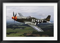 Framed North American P-51 Mustang in flight over Vasteras, Sweden