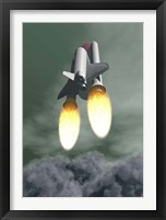 Framed Space shuttle taking off amongst grey smoke and clouds