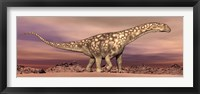 Framed Large Argentinosaurus dinosaur walking in the desert