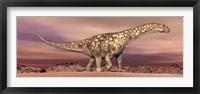 Framed Large Argentinosaurus dinosaur walking in the desert